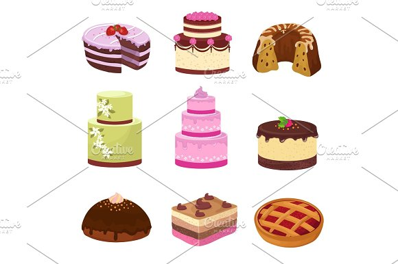 Happy Birthday Party Cakes With Decorations Isolated On White Cartoon Sweet Desserts Vector Set