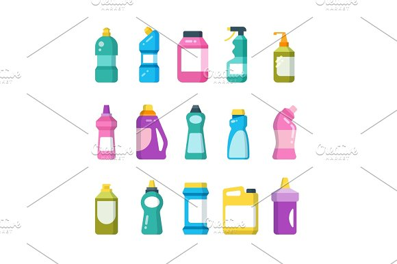 Cleaning Household Products Chemical Cleaners Bottles Sanitary Containers Vector Set