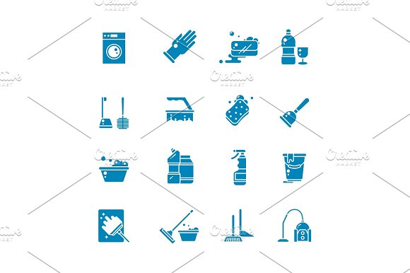 Cleaning Products And Services Silhouette Vector Icons Washing Supplies And Housework Black Symbols