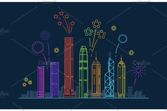 Hong Kong City Vector Panorama With Festive Fireworks China Line Cityscape With Buildings