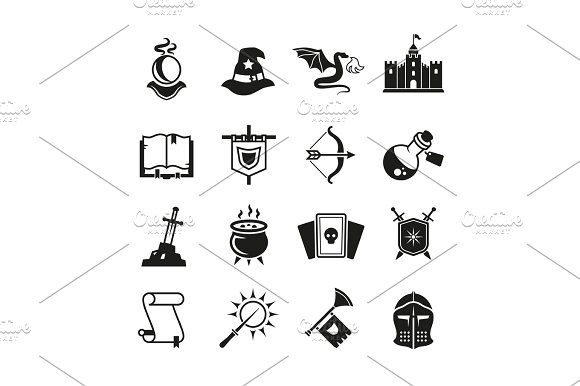 Fantasy Medieval Tale Vector Icons Mystery Magic And Knight Pictograms