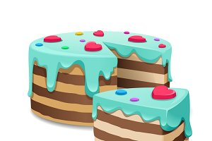 Cake and Cakes piece or pie slice