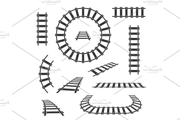 Straight And Curved Railroad Tracks Vector Black Icons