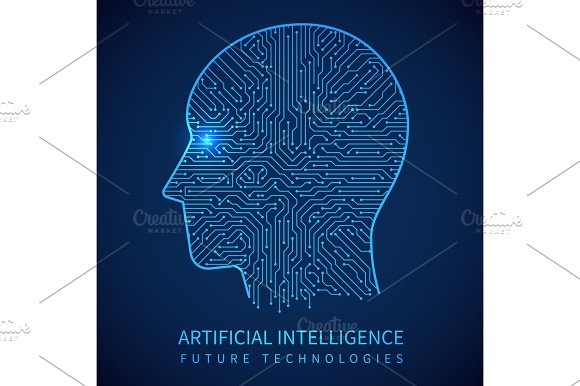 Cyborg Head With Circuit Board Inside Artificial Intelligence Of Digital Human Vector Concept