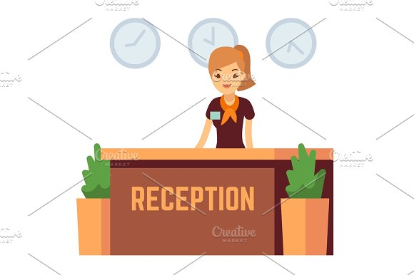 Bank Office Or Hotel Reception With Receptionist Smiling Woman Vector Illustration