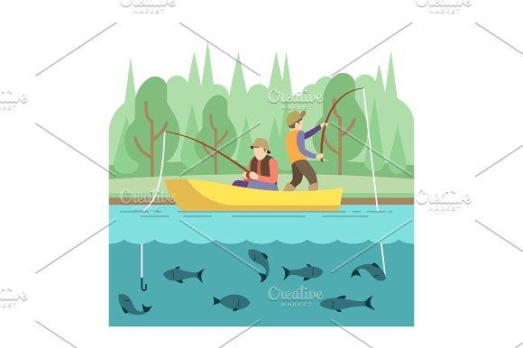 Outdoor Summer Activities Fishing Sport Vector Concept