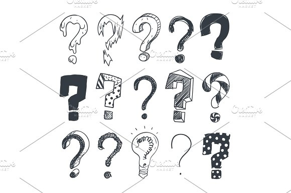Doodle Question Marks Hand Drawn Interrogation Query Symbols Vector Set