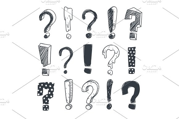 Grunge Doodle Sketch Exclamation And Question Marks Vector Set