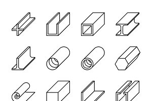 Metallurgy products vector icons
