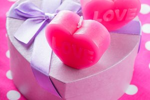 Love candles and gift box