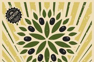 Vintage olive poster template design