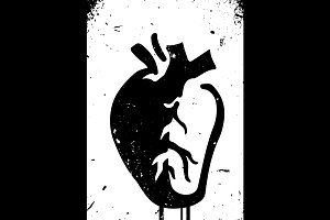 Anatomical heart urban style vector