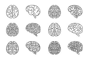 Human line brains icons