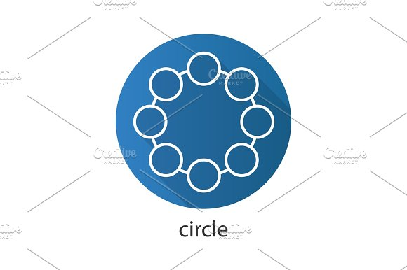 Circle Flat Linear Long Shadow Icon
