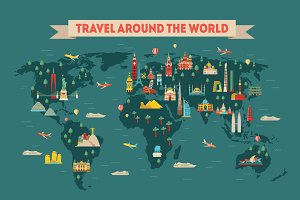 World map. Vector travel background
