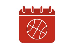 Basketball championship date glyph color icon