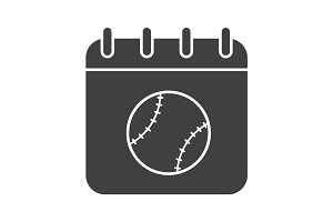 Tennis tournament date glyph icon