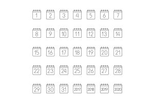 Month calendar linear icons set