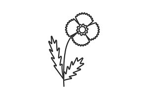 Poppy flower linear icon