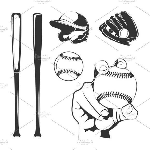 Elements For Baseball Club Labels