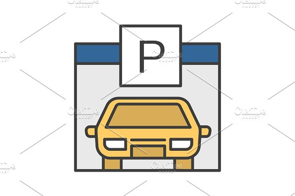 Parking Place Carpark Auto Shed Color Icon