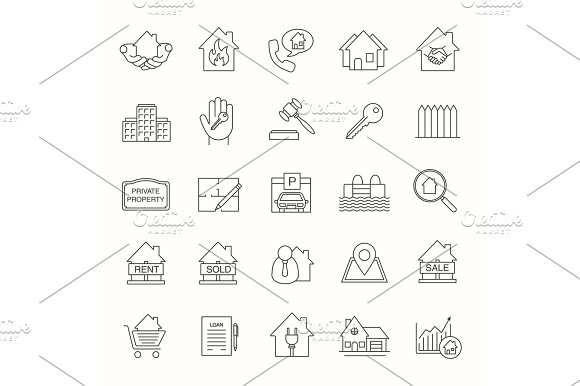 Real Estate Market Linear Icons Set