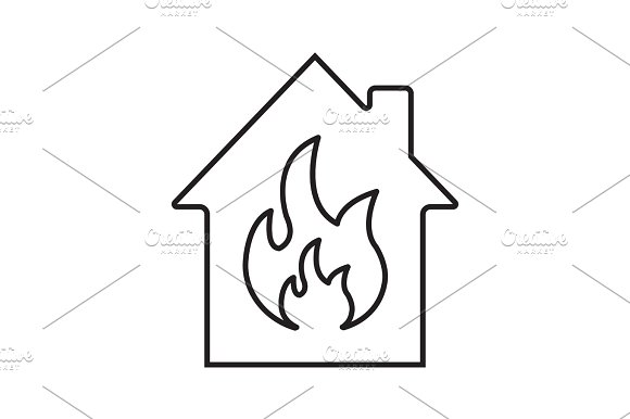 Burning House Linear Icon