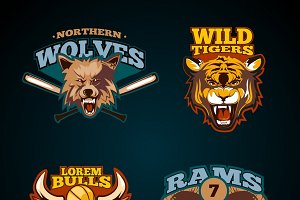 Sports labels with heads of animals