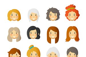 Women avatars set
