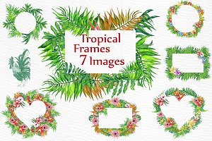Watercolor Tropic Frames Clipart