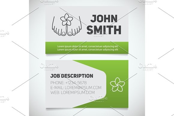 Business Card Print Template With Woman's Feet Logo