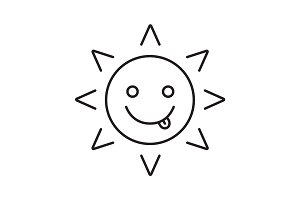 Yummy sun smile linear icon