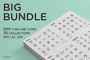 Big Bundle | 500 Thin Line Icons