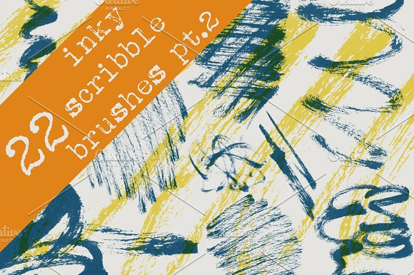 22 Inky Scribble Brushes - Pt. 2 - Brushes