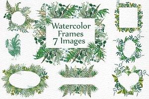 Watercolor Fern Frames clipart