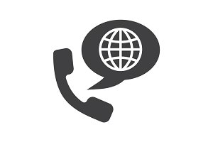 International phone call glyph icon