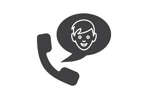 Phone talk with boy glyph icon