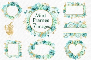 Gold Mint flower frames clipart