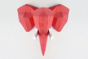 DIY Elephant Trophy - 3d papercraft