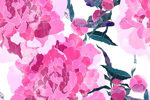 peonies seamless pattern | JPEG