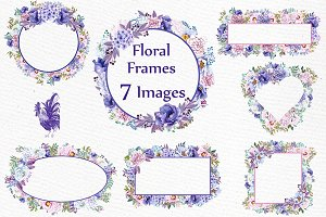 Watercolor peonies frames clipart