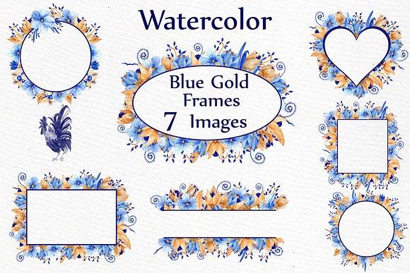Blue Gold Floral Frames Clipart