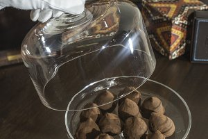 Chocolates in a luxurious glass dish
