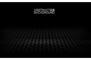 Black hexagonal background. Vector illustration. Dark Background Vector. Honeycomb, Hexagon, black color.