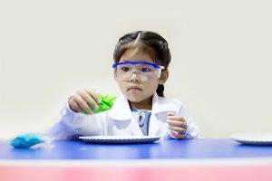 scientist asian girl in lab