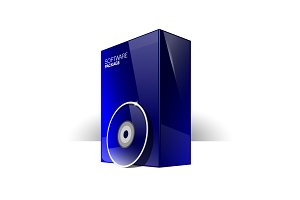 Blue Glossy Package Box With Disk
