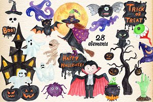 Watercolor Kids Halloween Clipart