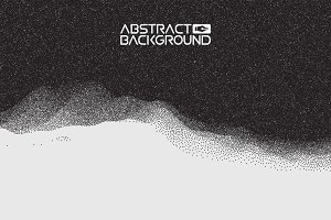 Stipple gradient texture ,half tone, dot vector art. 3D landscape Abstract Background. Gradient Vector Illustration. Computer Art Design Template. Landscape with Mountain Peaks
