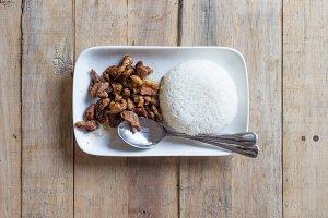 thai food on wood table