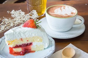 coffee cup and cake strawberry